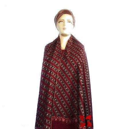 Stripdar Khatras Pashmina Shawl Maroon